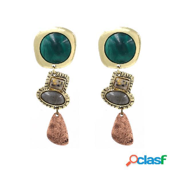 Estilo retro africano borlas pendientes bohemian green gem oreja drop mujer accesorios