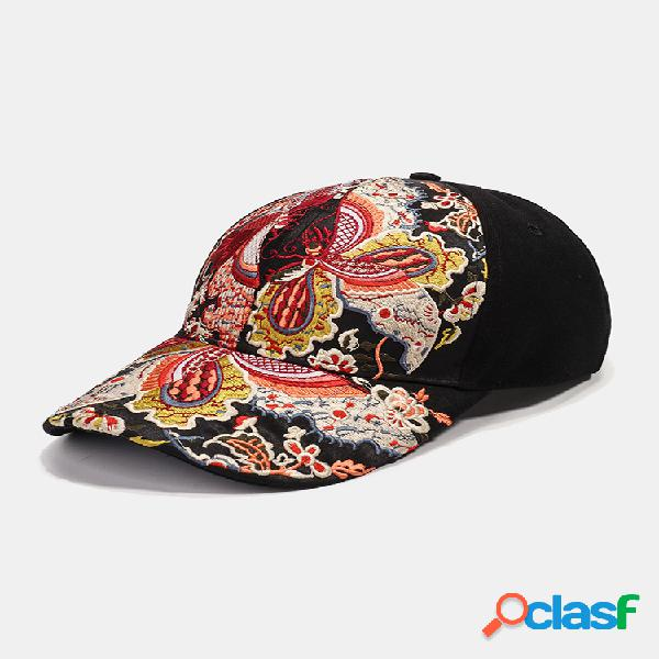 Gorra de béisbol con protección solar para mujer gorra de excursión con visera de flores bordada nacional