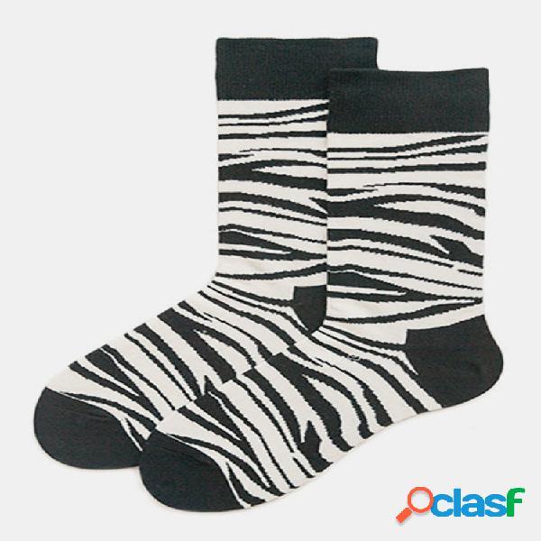 Hombres de algodón y mujer el mismo párrafo tubo a juego de color blanco y negro calcetines moda leopard tide calcetines