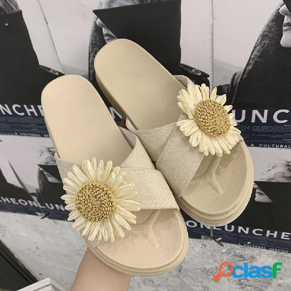 Mujer plataforma informal con punta abierta de flores zapatillas