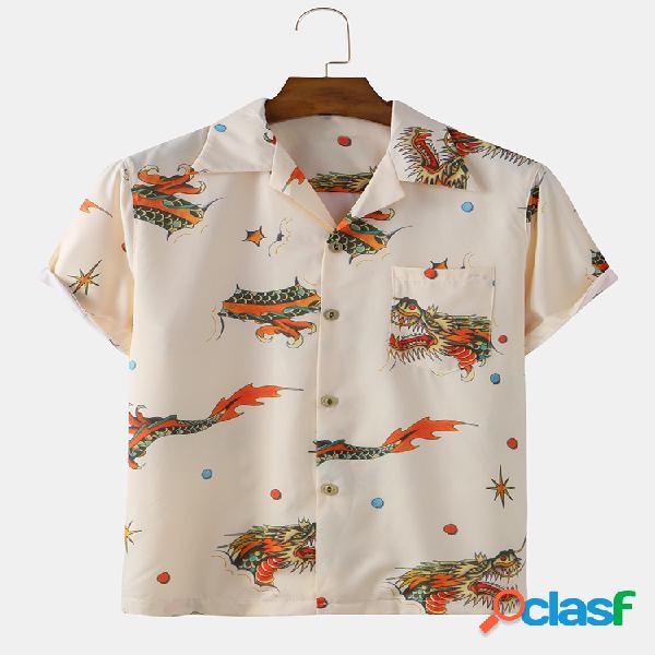Hombres dragón imprimir camisas de manga corta sueltas y transpirables ocasionales
