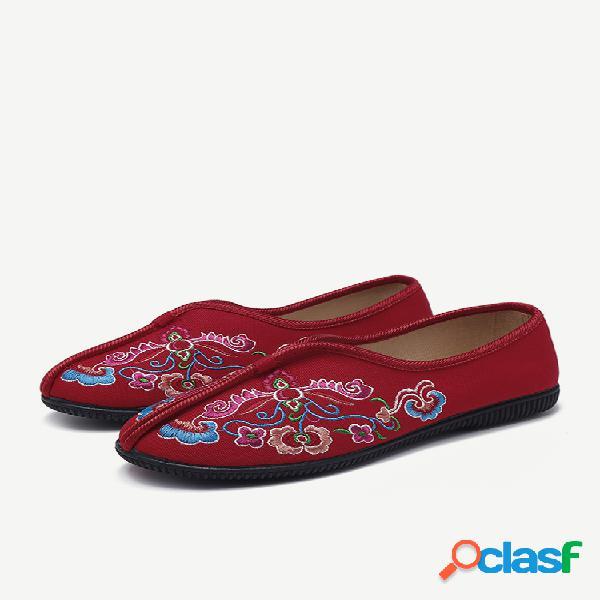 Mujer zapatos planos de tela de algodón con bordado de flores folkways