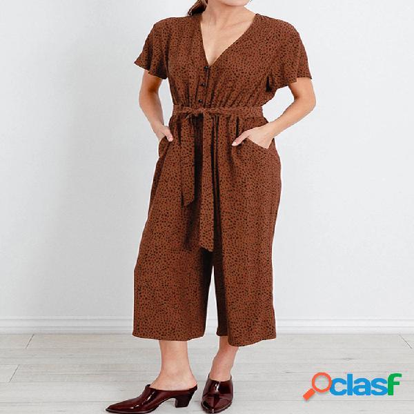 Mujer imprimir con cuello en v con cordones soft mono con bolsillo