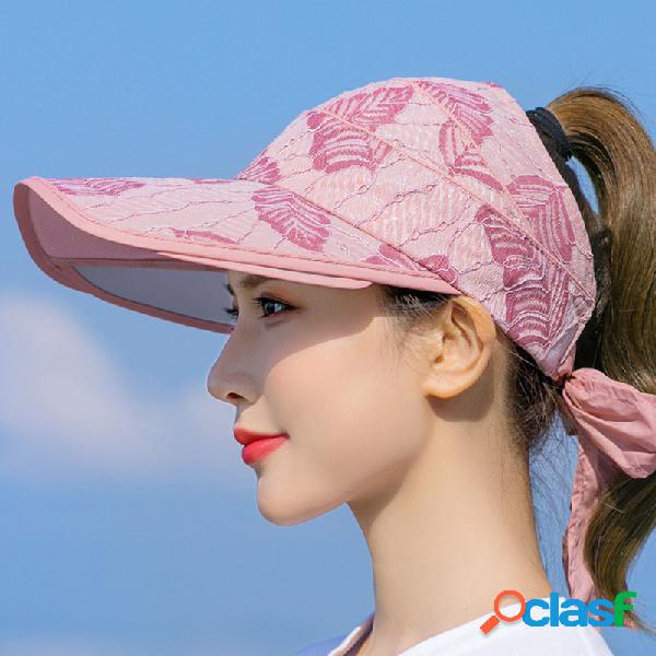 Mujer imprimir sun sombrero tapa anti-uv cara vacía superior sombrero