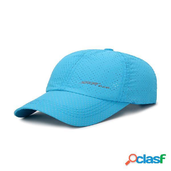 Hombres mujer gorra de béisbol transpirable de malla de color sólido de verano tela de secado rápido al aire libre gorra de sol de moda