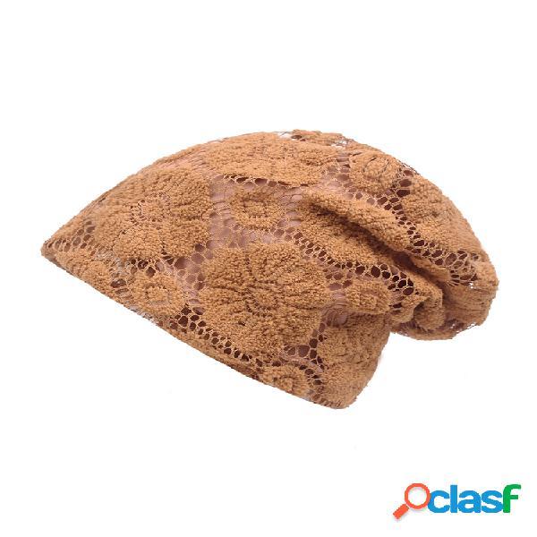 Mujer sólido flor patter étnico algodón transpirable elástico vendimia cómodo beanie sombrero
