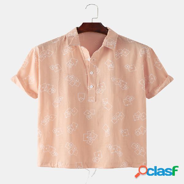 Algodón 5 colores estampado geométrico cuadrado sólido hogar casual solapa camisa para hombres mujer