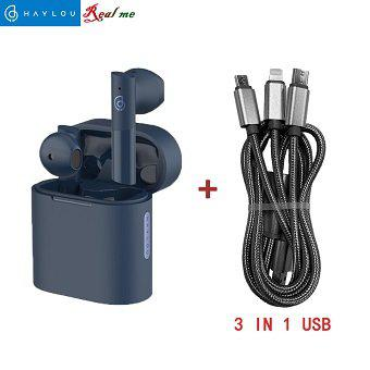 Aurículares bluetooth haylou t33 tws y cable de datos usb 3