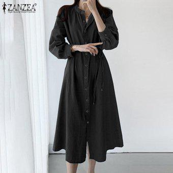 Zanzea plus tamaño de mujeres vestido ocasional flojo de