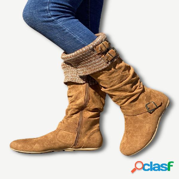 Mujer plus talla hebilla decoración ante lana cálida cremallera rodilla plana botas