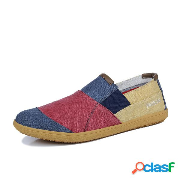 Hombres lona color blocking soft sole slip on casual zapatos