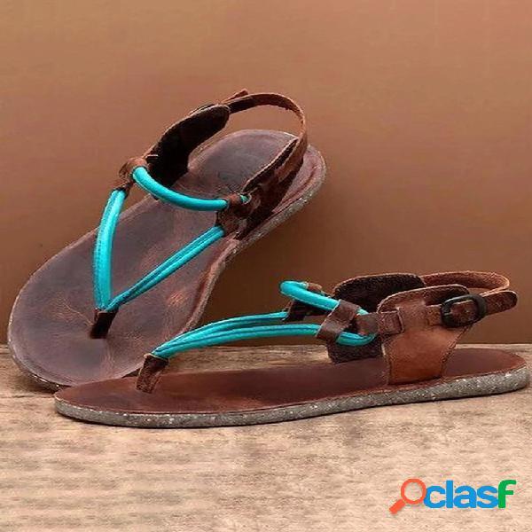 Mujer color block chanclas hebilla casual plano sandalias