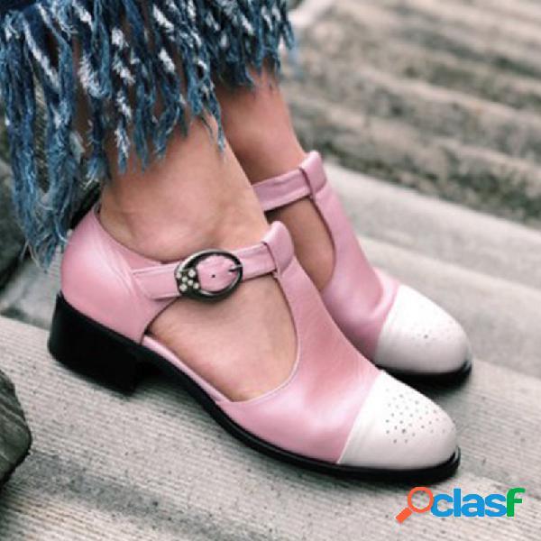 Mujer hebilla lateral cortada transpirable usable dedo del pie cerrado casual sandalias