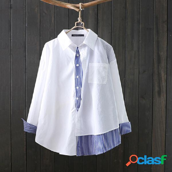 Solapa patchwork rayas plus talla casual camisa