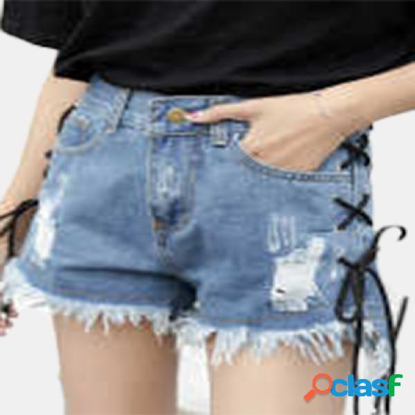 Pantalones cortos de mezclilla sueltos irregulares de agujero de cintura alta