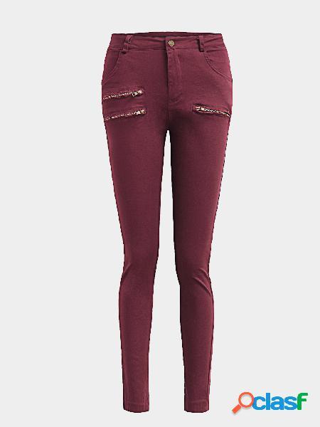 Pantalones ajustados de talle alto y cintura alta rojos sin mangas