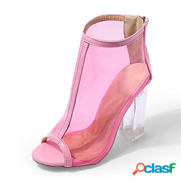 Pink zip design peep toe bombas transparentes con tacones gruesos