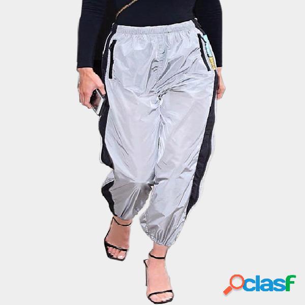 Pantalones deportivos de cintura alta color contraste activo en gris