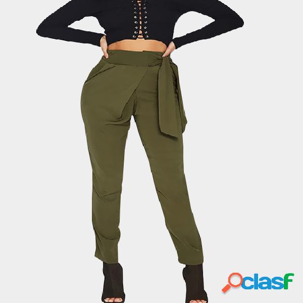 Pantalones de cintura alta con cintura ajustada verde militar con lazo