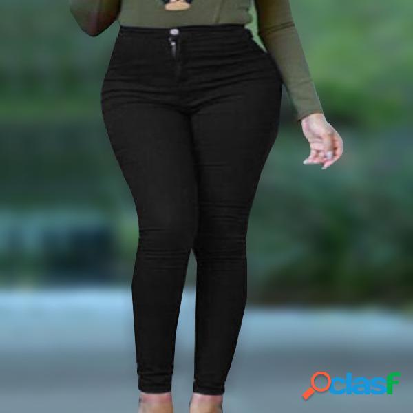 Pantalones casuales negros de lápiz de cintura alta