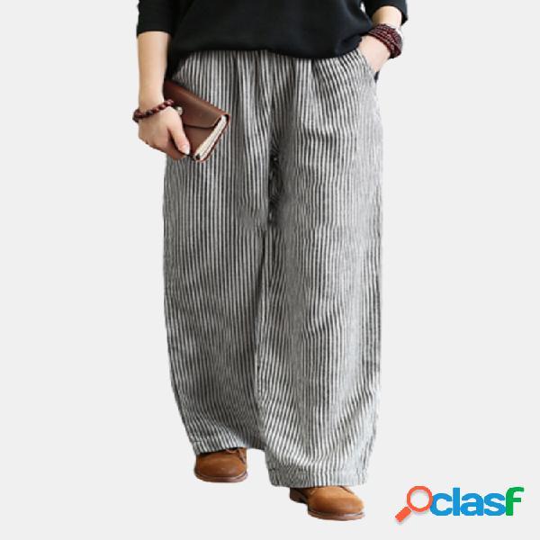 Cintura elástica suelta con estampado de rayas plus tamaño pantalones
