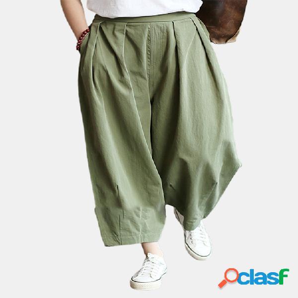 Color sólido plisado suelta cintura alta casual pantalones para mujer