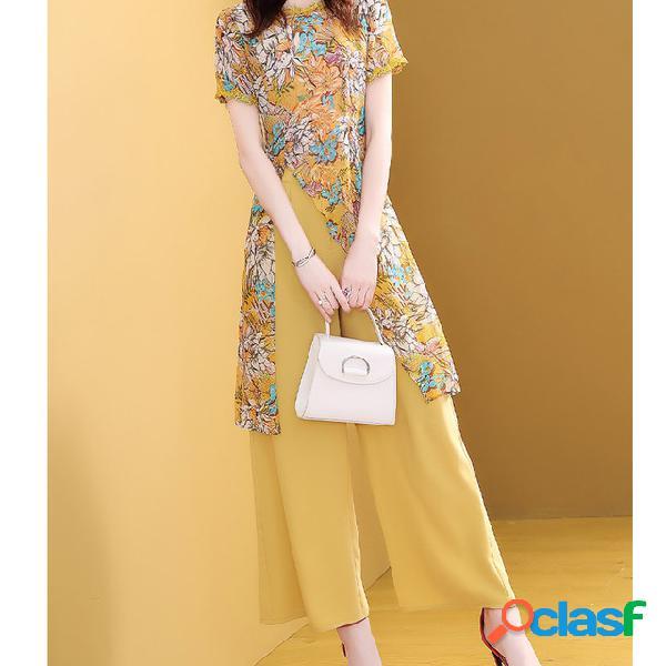 Moda cintura alta caída pantalones de pierna ancha traje mujer nueva temporada moda extranjera pantalones de dos piezas