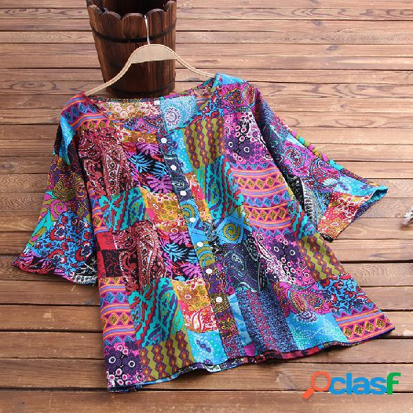 Patchwork estampado africano plus talla vendimia camisa