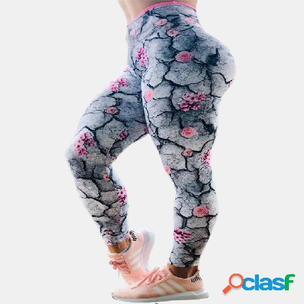 Imprimir cintura alta plus tamaño yoge pantalones para mujer