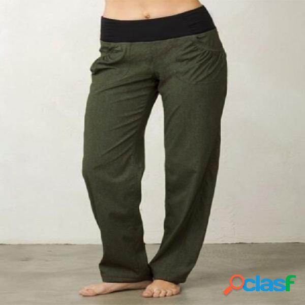 Bolsillos de cintura alta plus talla casual pantalones para mujer