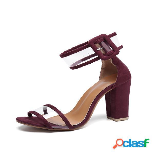 Mujer tacones gruesos de color sólido bukcle sandalias