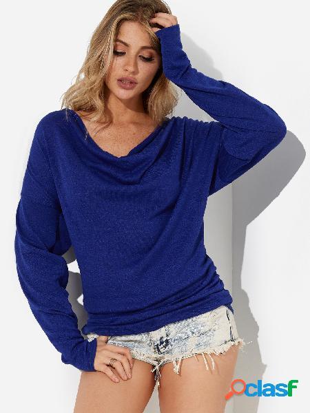 Mangas largas con cuello en v de diseño plisado azul camisetas