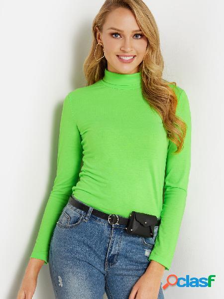 Camiseta ajustada con mangas largas de cuello alto de mangas largas verdes básicas