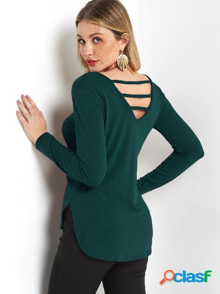 Camiseta con mangas largas de cuello redondo liso con diseño de corte liso verde