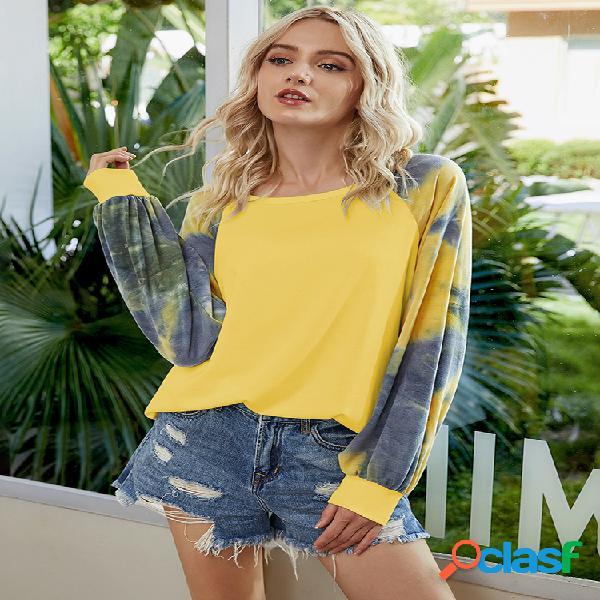 Camiseta informal con mangas largas y estampado teñido anudado para mujer