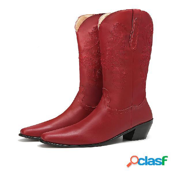 Tallas grandes retro mujer patrón pu western bordado tacón grueso mitad de la pantorrilla cowboy botas
