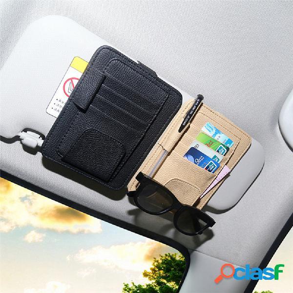 Cuero de pu coche visera para el sol gafas clip coched pluma soporte almacenamiento paquete de licencia de conducir