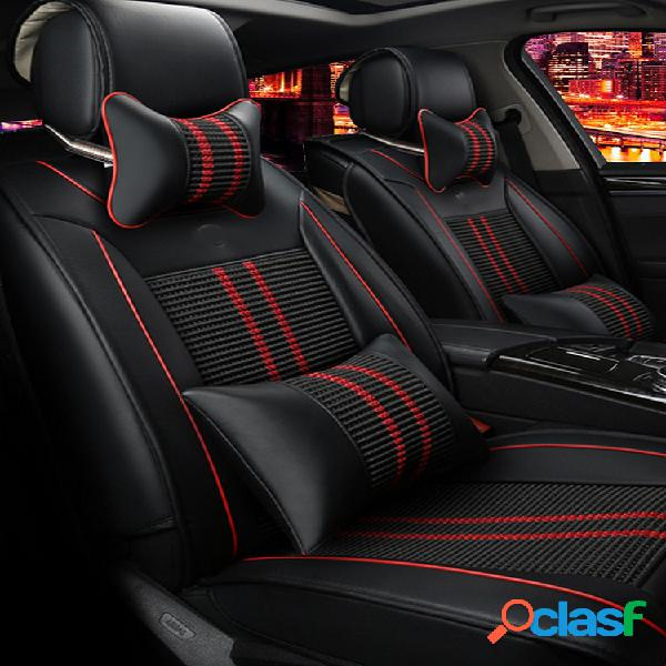 11 piezas pu coche funda de asiento delantero + cojín trasero 5 asientos + almohada envolvente completo