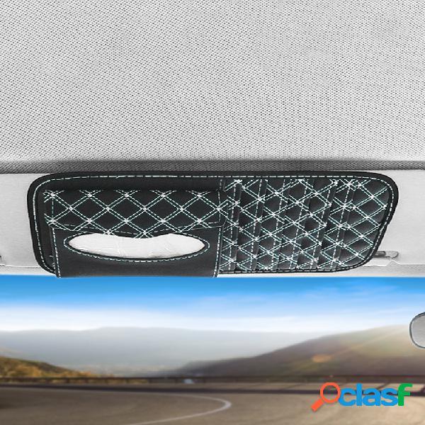 Dos en one tarjeta de cd coche visera para el sol papel multiusos bolsa material de cuero coche almacenamiento bolsa visera para el sol