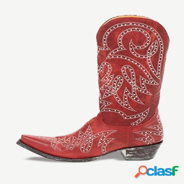 Tamaño grande retro mujer remache patrón casual puntiagudo cowboy botas