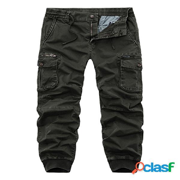 Cintura elástica para hombre bolsillos múltiples color sólido algodón casual carga pantalones monos