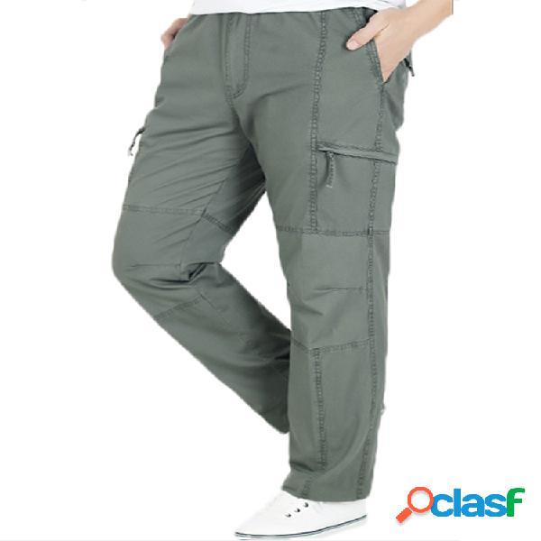 Hombres plus tamaño multi-bolsillo color sólido suelto ajuste algodón casual carga pantalones