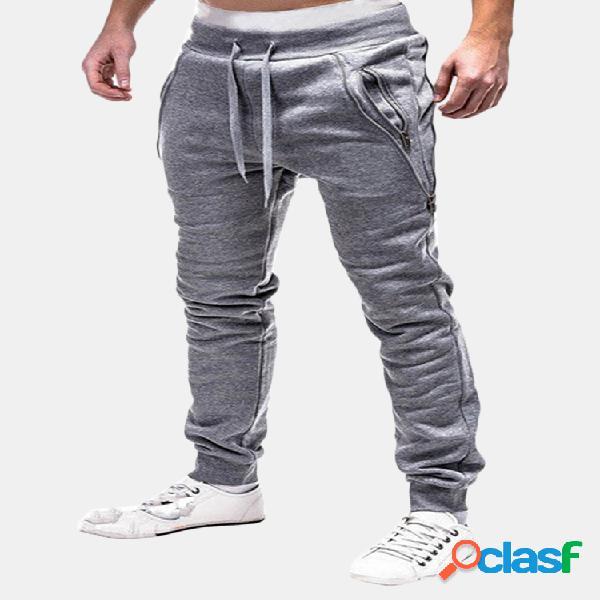 Cintura elástica casual con bolsillo con cremallera doble y cordón deportivo pantalones para hombres