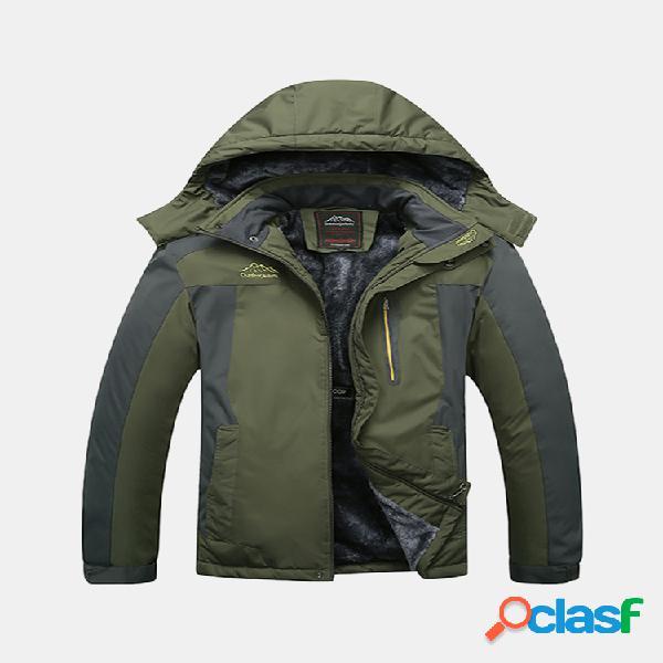7xl plus tamaño al aire libre chaqueta con capucha rompevientos resistente al agua para escalada espesa para hombres