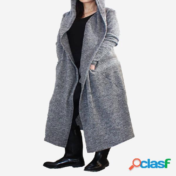 Mezcla de algodón de color sólido con capucha plus tamaño abrigo largo y fino