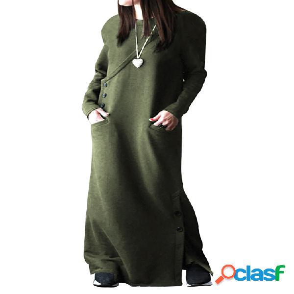 Sudadera casual de manga larga con botones de color liso plus tamaño maxi sudadera vestido