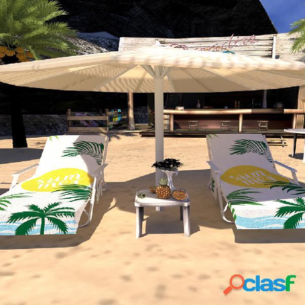 Secado rápido playa toalla funda para silla chaise lounge de microfibra toalla funda con bolsillos laterales para piscina tumbona para jardín de hotel