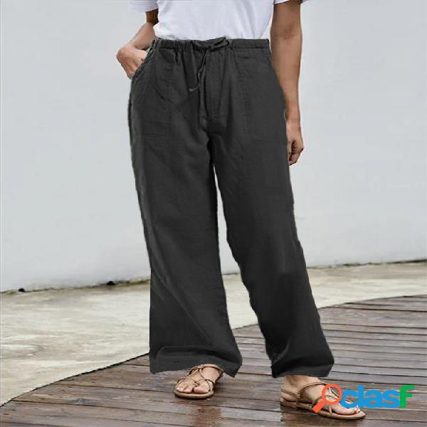 Cordón de cintura elástica de color sólido casual pantalones