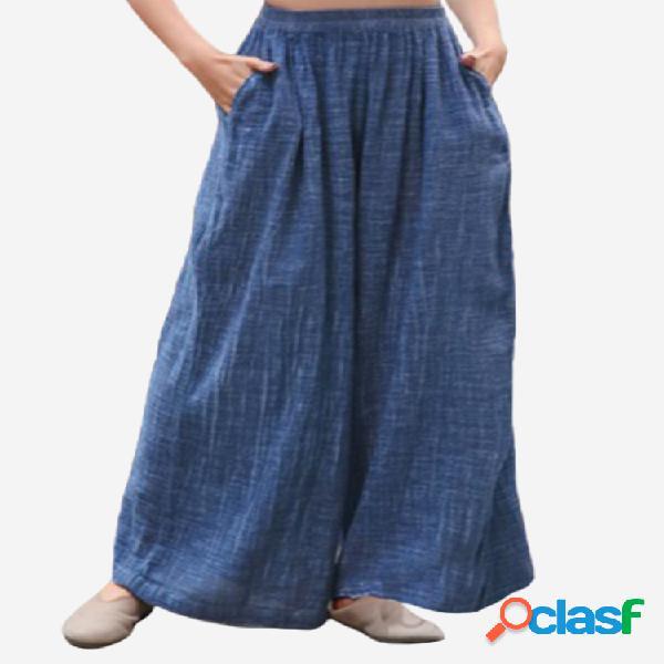 Casual cintura elástica de color liso pantalones para mujer