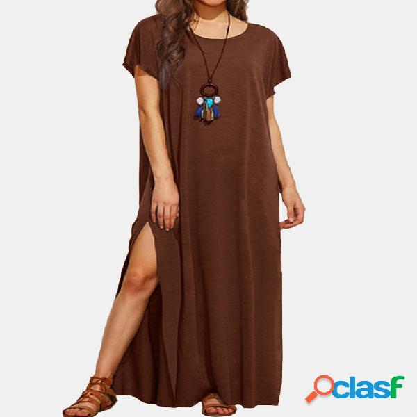 Color sólido manga corta o-cuello casual abertura vestido para mujer